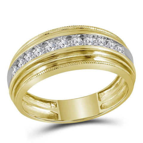 10kt Yellow Gold Mens Round Diamond Milgrain Ridged Wedding Anniversary Band Ring 1/2 Cttw