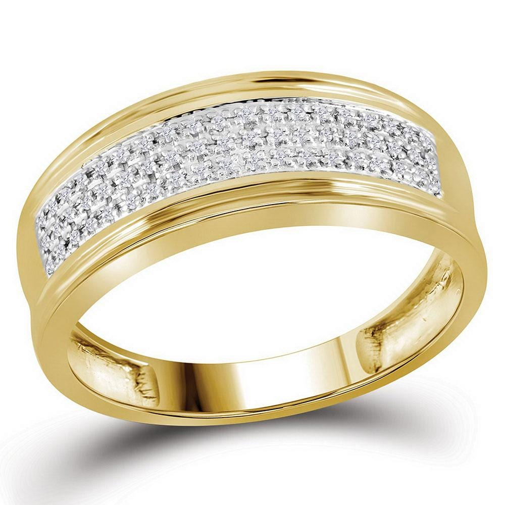 10kt Yellow Gold Mens Round Diamond Wedding Triple Row Band Ring 1/10 Cttw