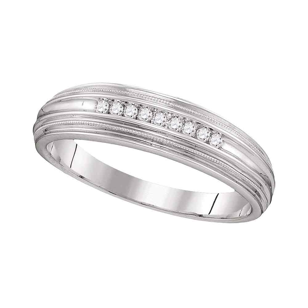 10kt White Gold Mens Round Diamond Ridged Edges Wedding Anniversary Band Ring 1/10 Cttw