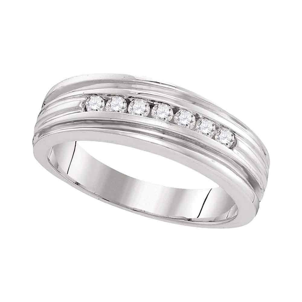 10kt White Gold Mens Round Diamond Ridged Edges Wedding Anniversary Band Ring 1/4 Cttw