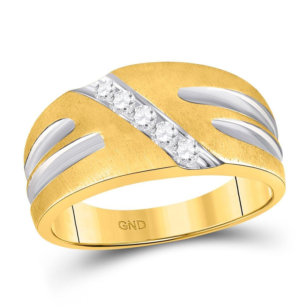 10kt Two-tone Gold Mens Round Diamond Band Ring 1/4 Cttw