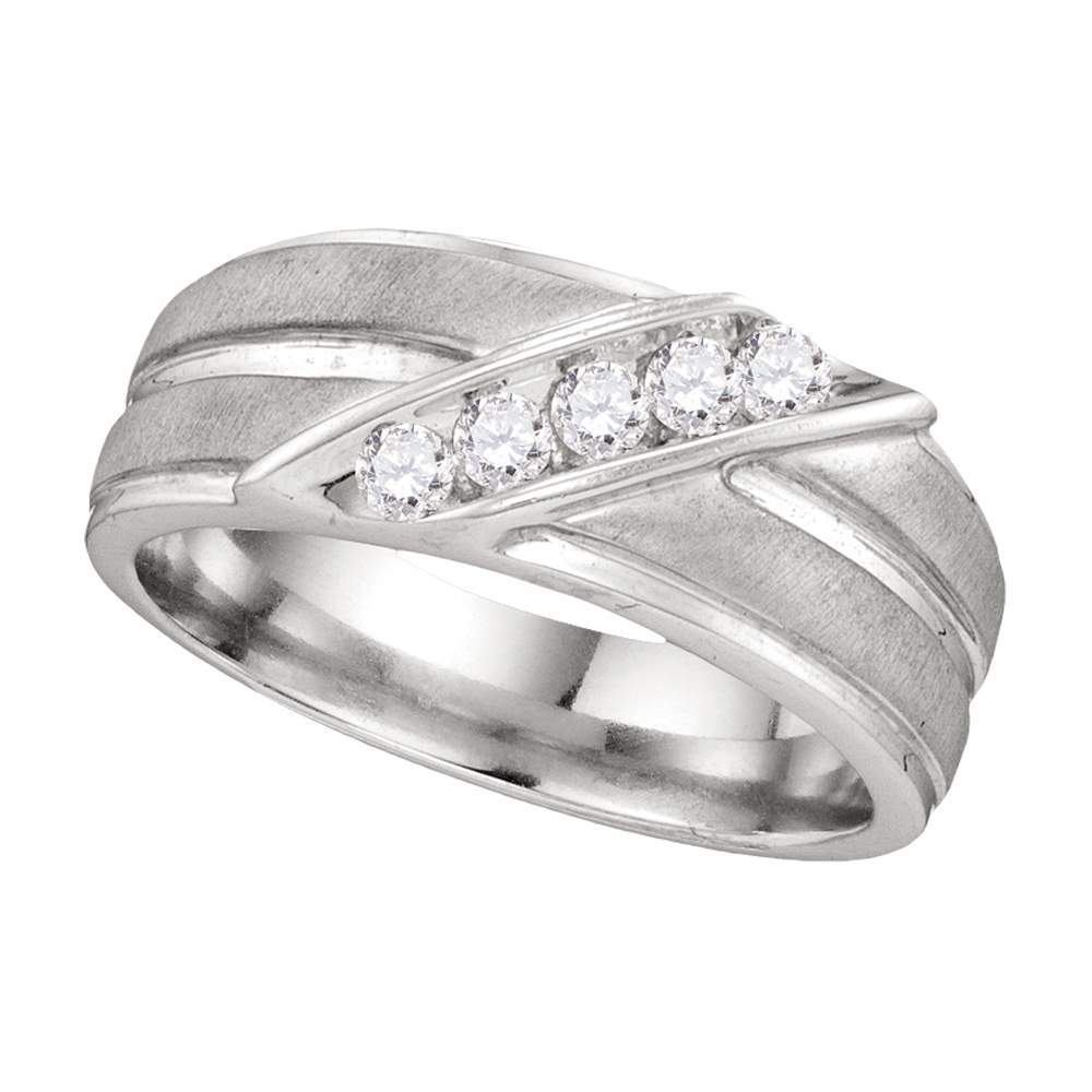 10kt White Gold Mens Round Diamond Diagonal Row Ridged Matte Wedding Band Ring 1/4 Cttw