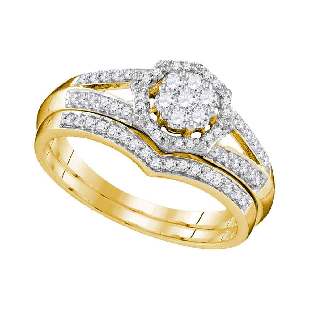 10k Yellow Gold Womens Round Diamond Cluster Bridal Wedding Engagement Ring Band Set 1/2 Cttw