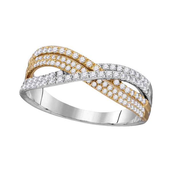 10kt Two-tone Gold Womens Round Diamond Crossover Band Ring 1/2 Cttw