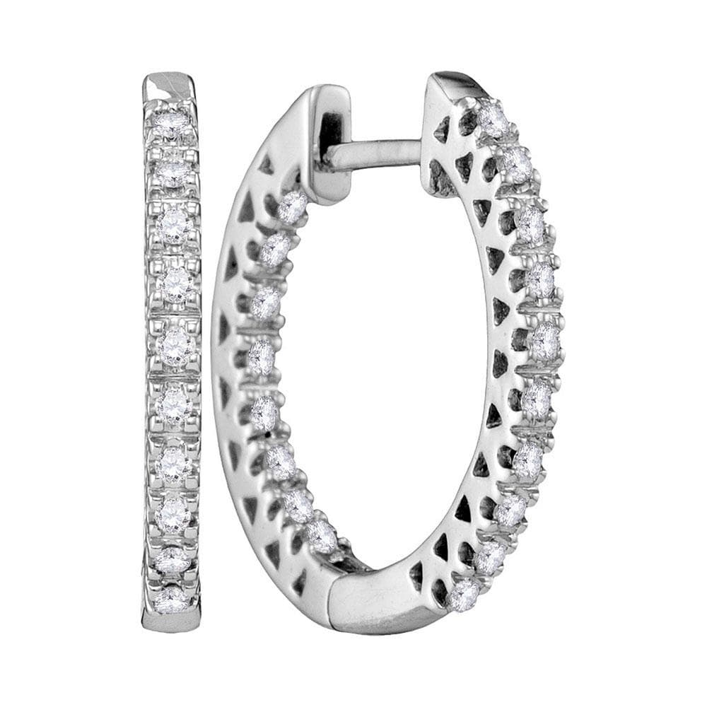 10kt White Gold Womens Round Diamond Hoop Earrings 1/3 Cttw