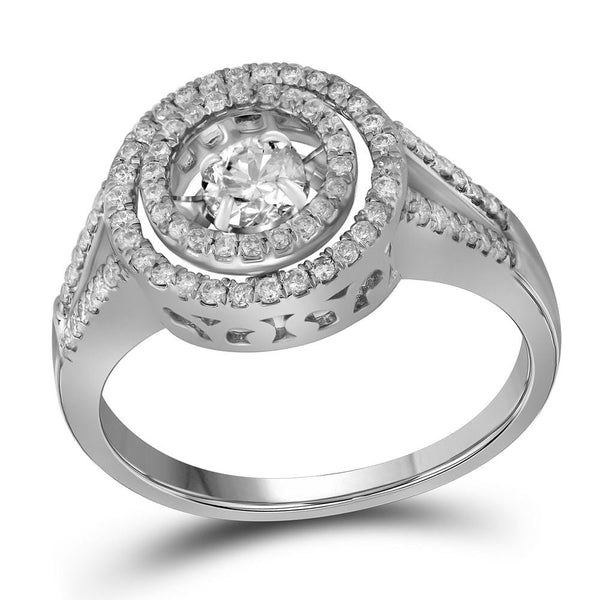 10kt White Gold Womens Round Diamond Moving Solitaire Bridal Wedding Engagement Ring 5/8 Cttw