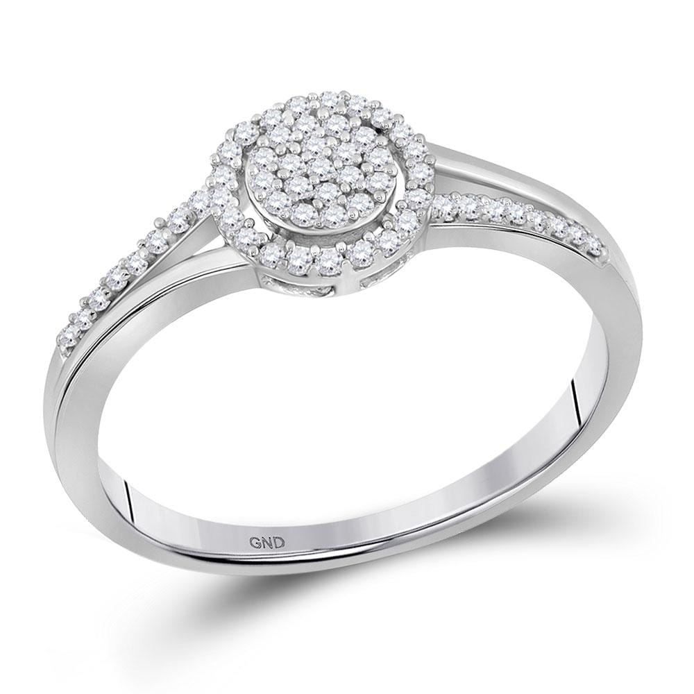 10kt White Gold Womens Round Diamond Cluster Ring 1/ Cttw