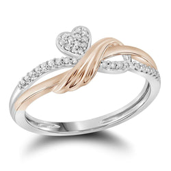 10kt Two-tone Gold Womens Round Diamond Heart Love Rose Band Ring 1/10 Cttw