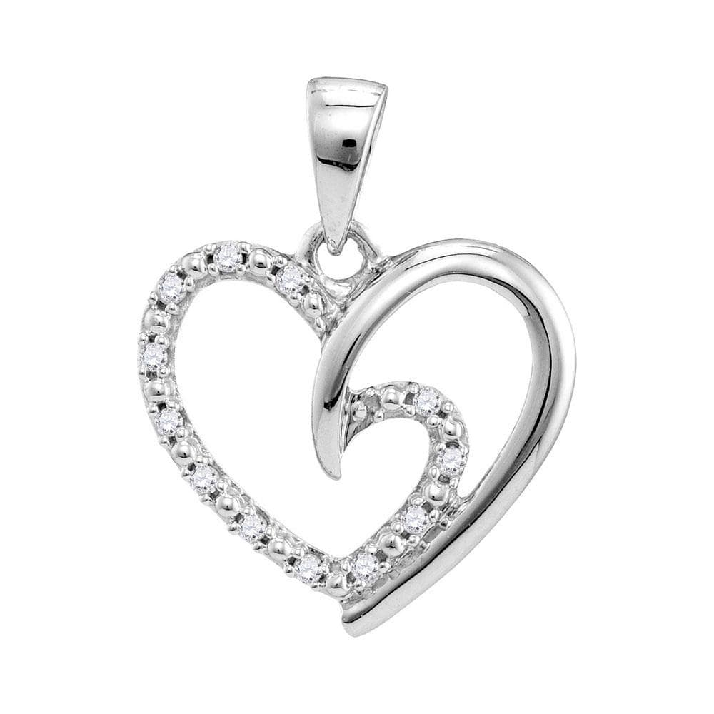 10kt White Gold Womens Round Diamond Small Heart Love Pendant 1/10 Cttw