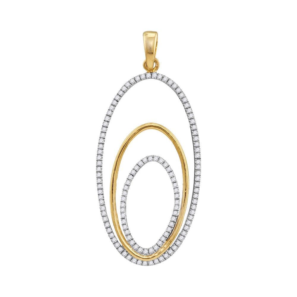 10kt Yellow Gold Womens Round Diamond Triple Nested Oval Pendant 1/3 Cttw