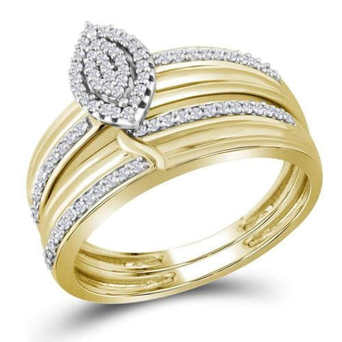 10k Yellow Gold Diamond His & Hers Matching Trio Wedding Engagement Bridal Ring Set 1/3 Cttw