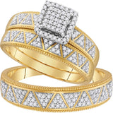 10kt Yellow Gold His & Hers Round Diamond Square Cluster Matching Bridal Wedding Ring Band Set 1/2 Cttw