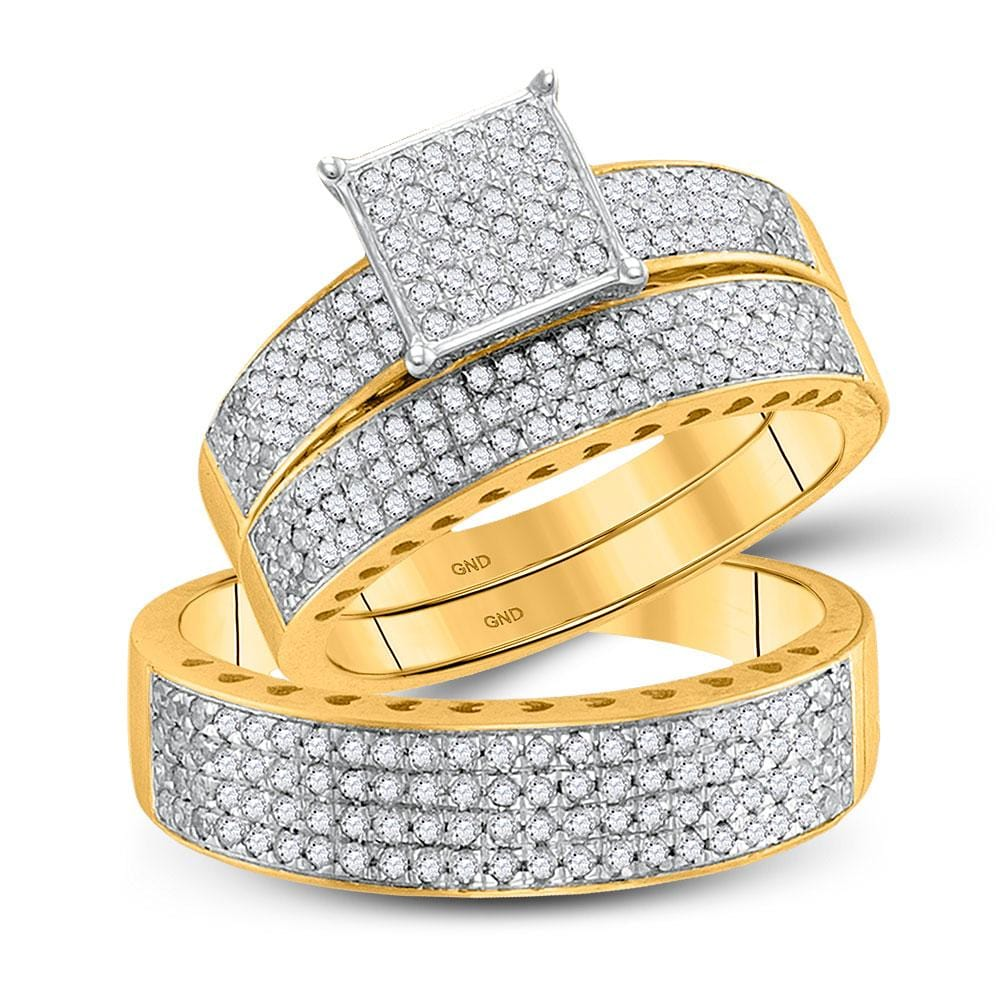10kt Yellow Gold His Hers Round Diamond Cluster Matching Wedding Set 1 Cttw