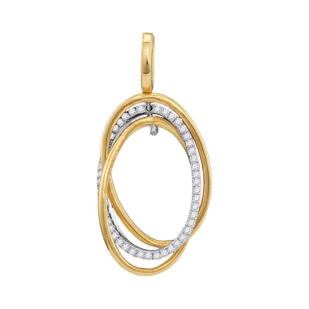10kt Yellow Gold Womens Round Diamond Triple Joined Oval Pendant 1/6 Cttw