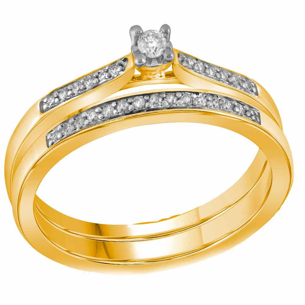 10kt Yellow Gold Womens Round Diamond Bridal Wedding Engagement Ring Band Set 1/8 Cttw