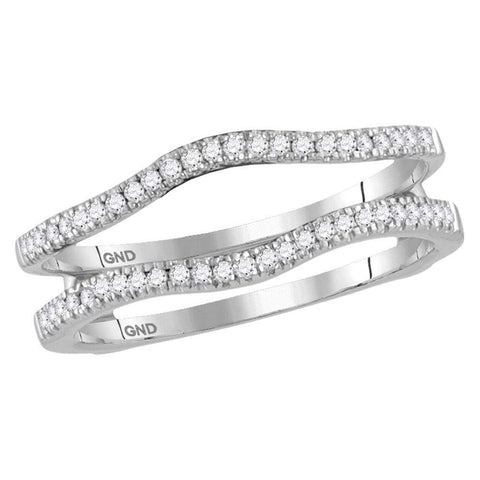14kt White Gold Womens Round Diamond Ring Guard Wrap Solitaire Enhancer Band 1/4 Cttw