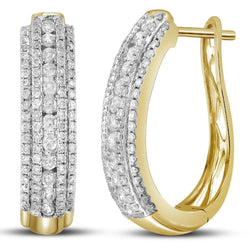 14kt Yellow Gold Womens Round Diamond Oblong Hoop Earrings 1-1/5 Cttw