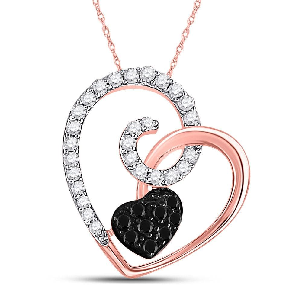 10kt Rose Gold Womens Round Black Color Enhanced Diamond Heart Love Pendant 1/4 Cttw