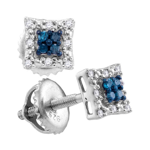 Sterling Silver Womens Round Blue Color Enhanced Diamond Square Earrings 1/10 Cttw