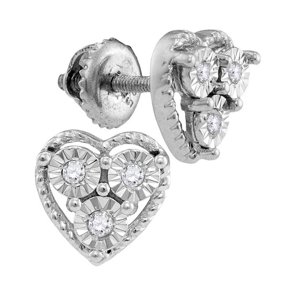 Sterling Silver Womens Round Diamond Heart Frame Stud Earrings 1/20 Cttw