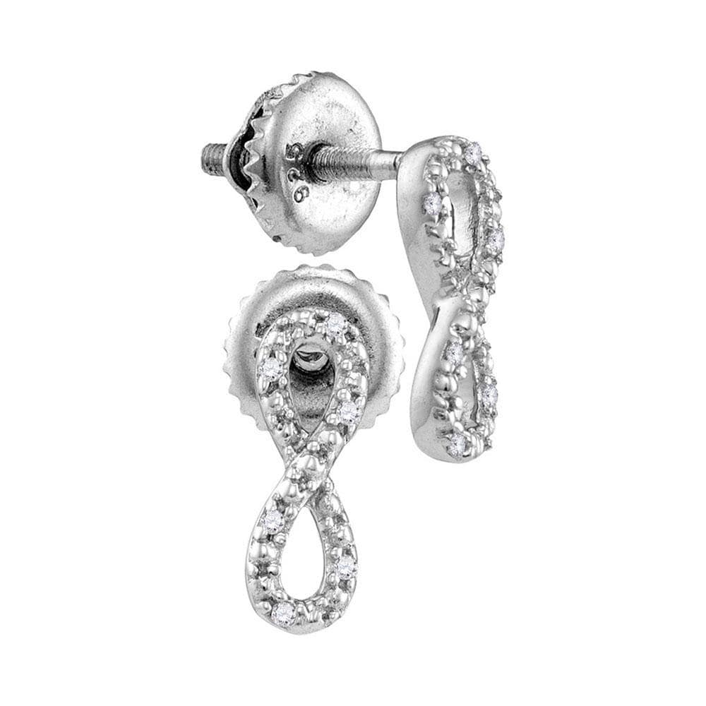 Sterling Silver Womens Round Diamond Vertical Infinity Earrings 1/20 Cttw