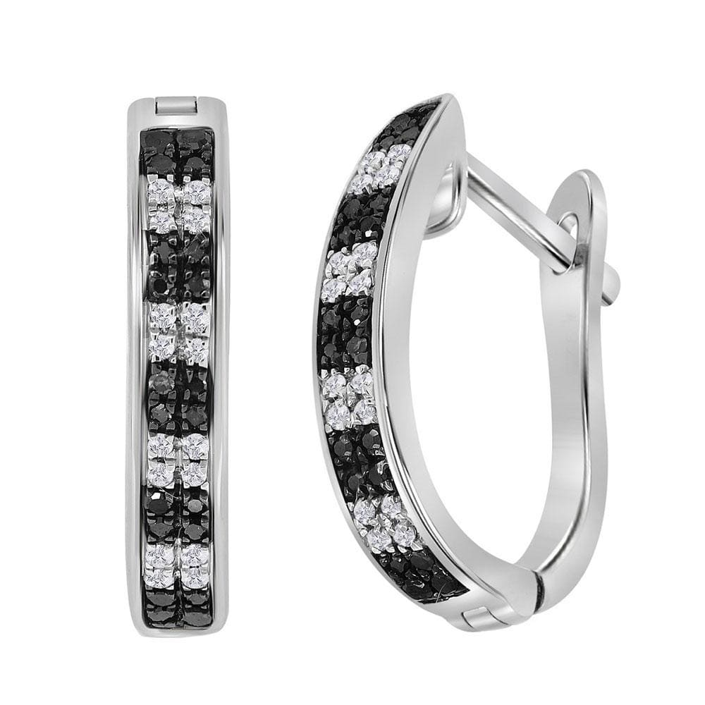 Sterling Silver Womens Round Black Color Enhanced Diamond Hoop Earrings 1/6 Cttw