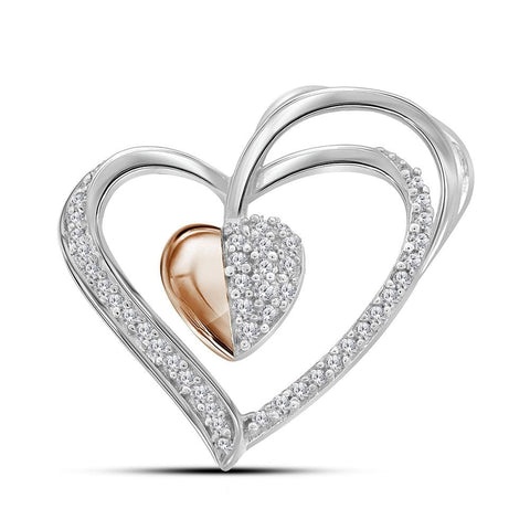 Sterling Silver Womens Round Diamond Rose-tone Heart Pendant 1/6 Cttw