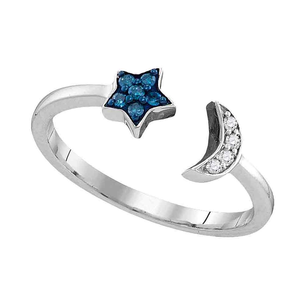 Sterling Silver Womens Round Blue Color Enhanced Natural Diamond Star Crescent Moon Bisected Band Ring 1/10 Cttw