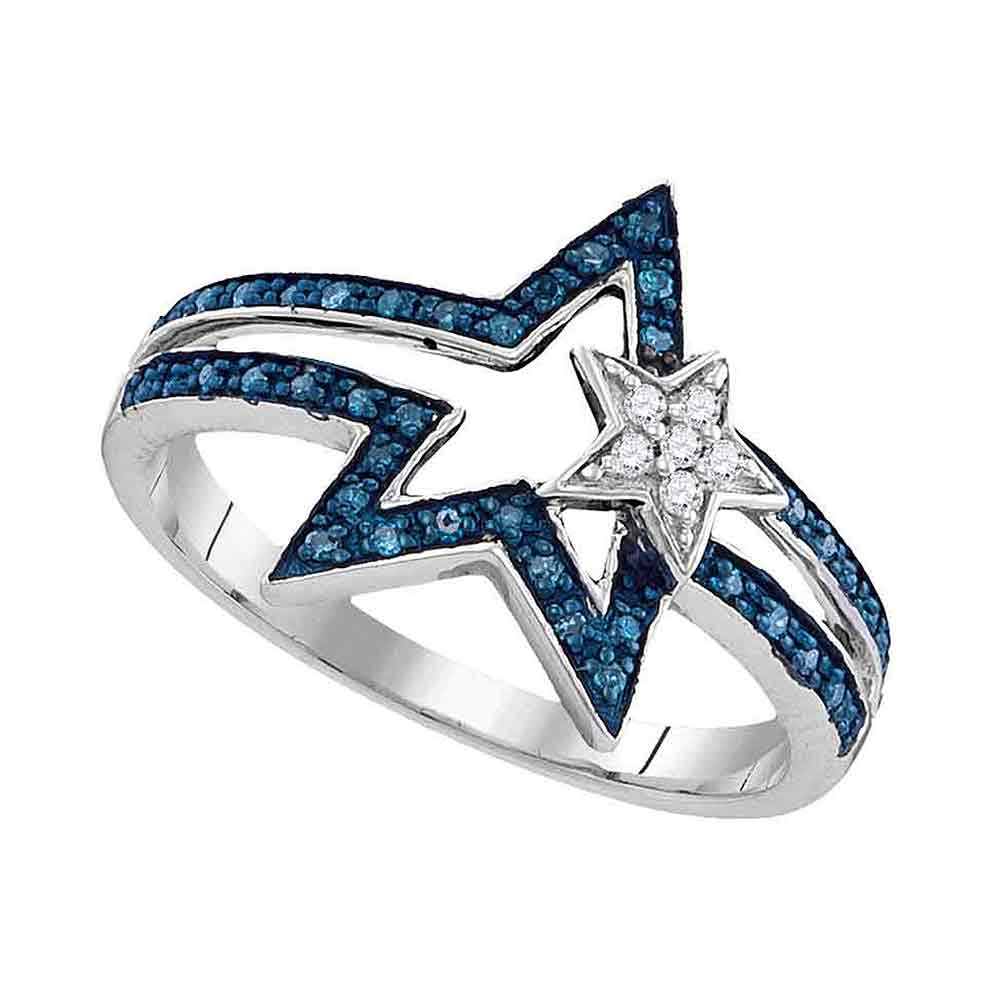 Sterling Silver Womens Round Blue Color Enhanced Diamond Double Star Ring 1/6 Cttw