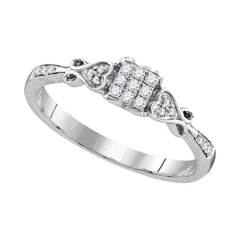 Sterling Silver Womens Round Diamond Cluster Bridal Wedding Engagement Ring 1/6 Cttw