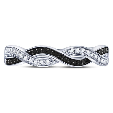 Sterling Silver Womens Round Black Color Enhanced Diamond Woven Band Ring 1/6 Cttw