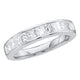 14kt White Gold Womens Princess Channel-set Diamond Single Row Wedding Band 1/2 Cttw