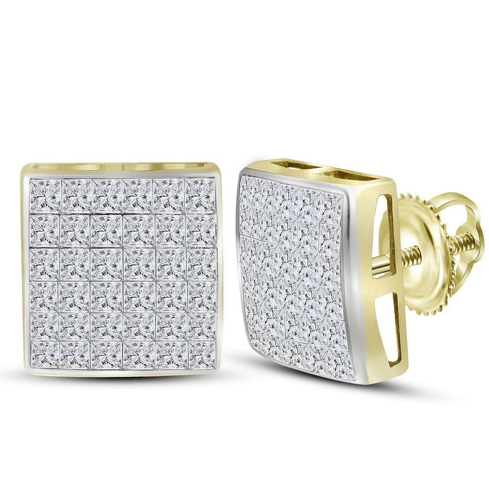 14kt Yellow Gold Womens Princess Diamond Square Cluster Stud Earrings 2.00 Cttw