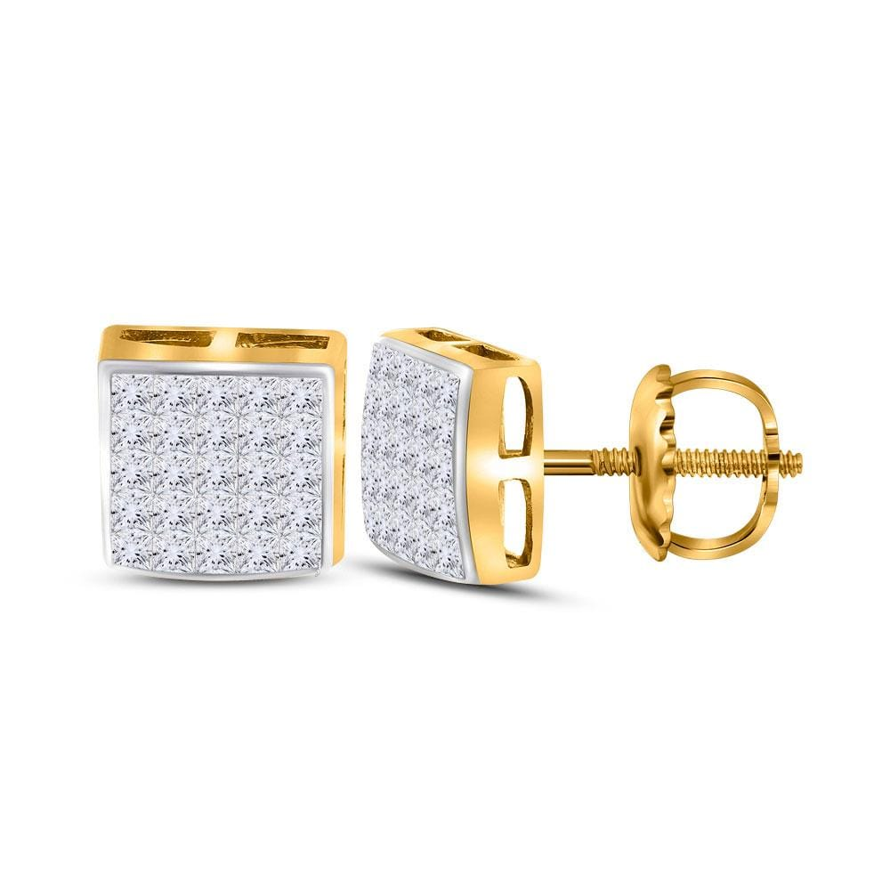 14kt Yellow Gold Womens Princess Diamond Square Cluster Stud Earrings 5/8 Cttw