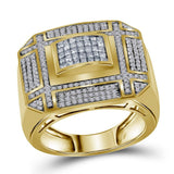 14kt Yellow Gold Mens Princess Diamond Grid Cluster Ring 1 Cttw