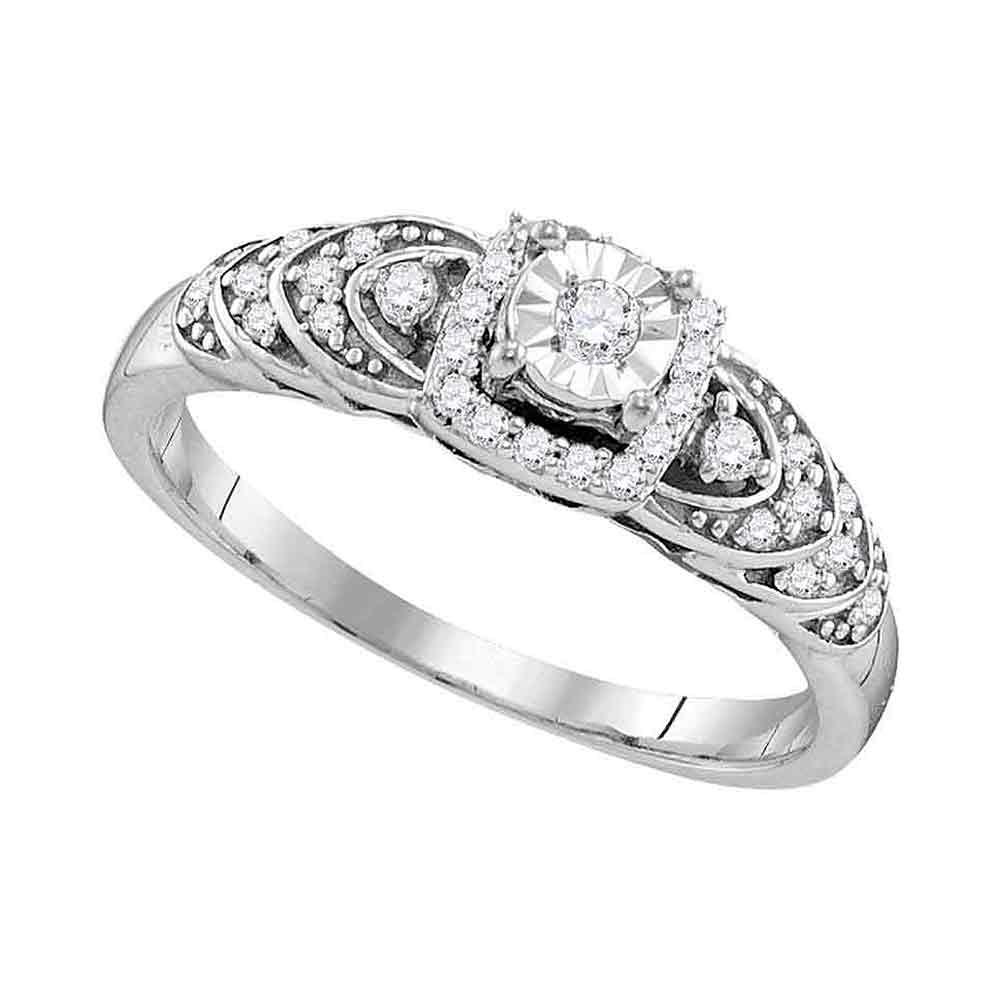 Sterling Silver Womens Round Diamond Heart Love Bridal Wedding Engagement Ring 1/5 Cttw