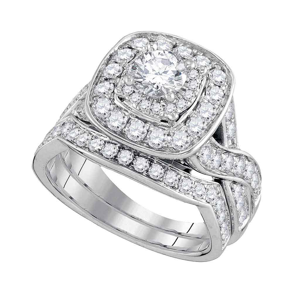 14kt White Gold Womens Round Diamond Halo Bridal Wedding Engagement Ring Band Set 2.00 Cttw