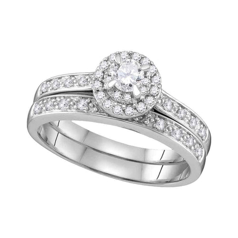 14k White Gold Womens Round Diamond Halo Bridal Wedding Engagement Ring Band Set 1/2 Cttw