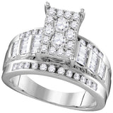 10kt White Gold Womens Round Diamond Rectangle Cluster Bridal Wedding Engagement Ring 7/8 Cttw - Size 6