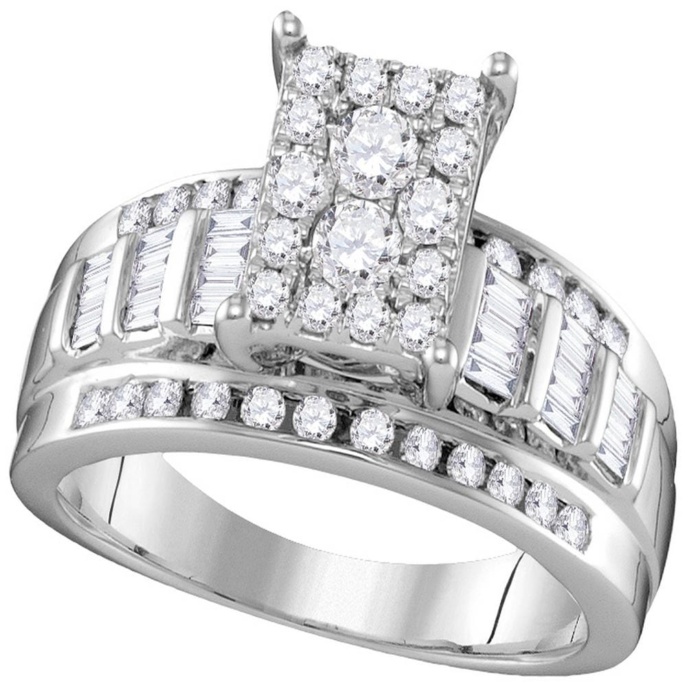 10kt White Gold Womens Round Diamond Rectangle Cluster Bridal Wedding Engagement Ring 7/8 Cttw - Size 9