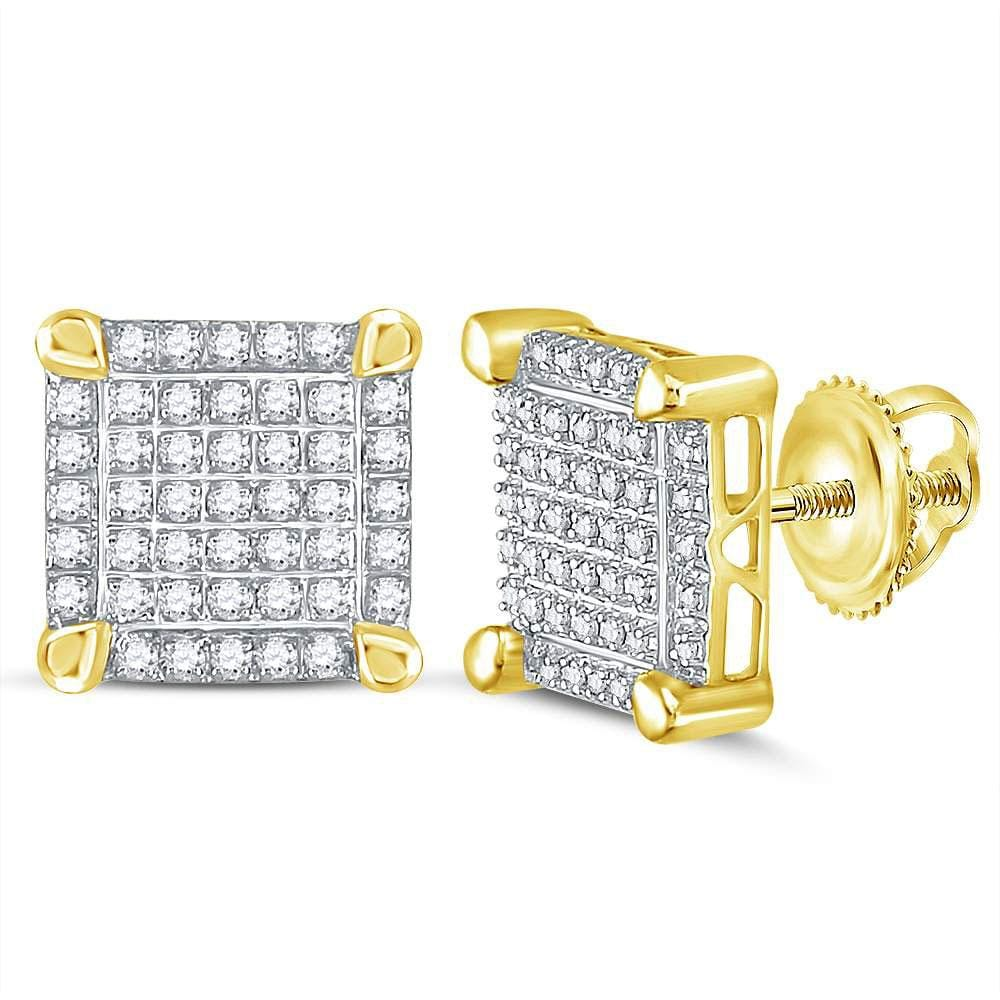 10kt Yellow Gold Mens Round Diamond Square Cluster Stud Earrings 1/4 Cttw