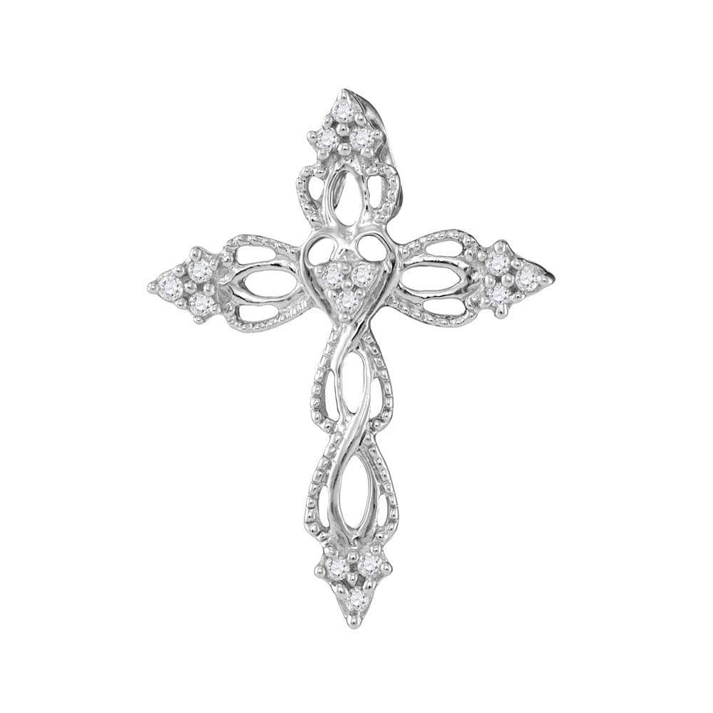 10kt White Gold Womens Round Diamond Heart Cross Religious Pendant 1/6 Cttw