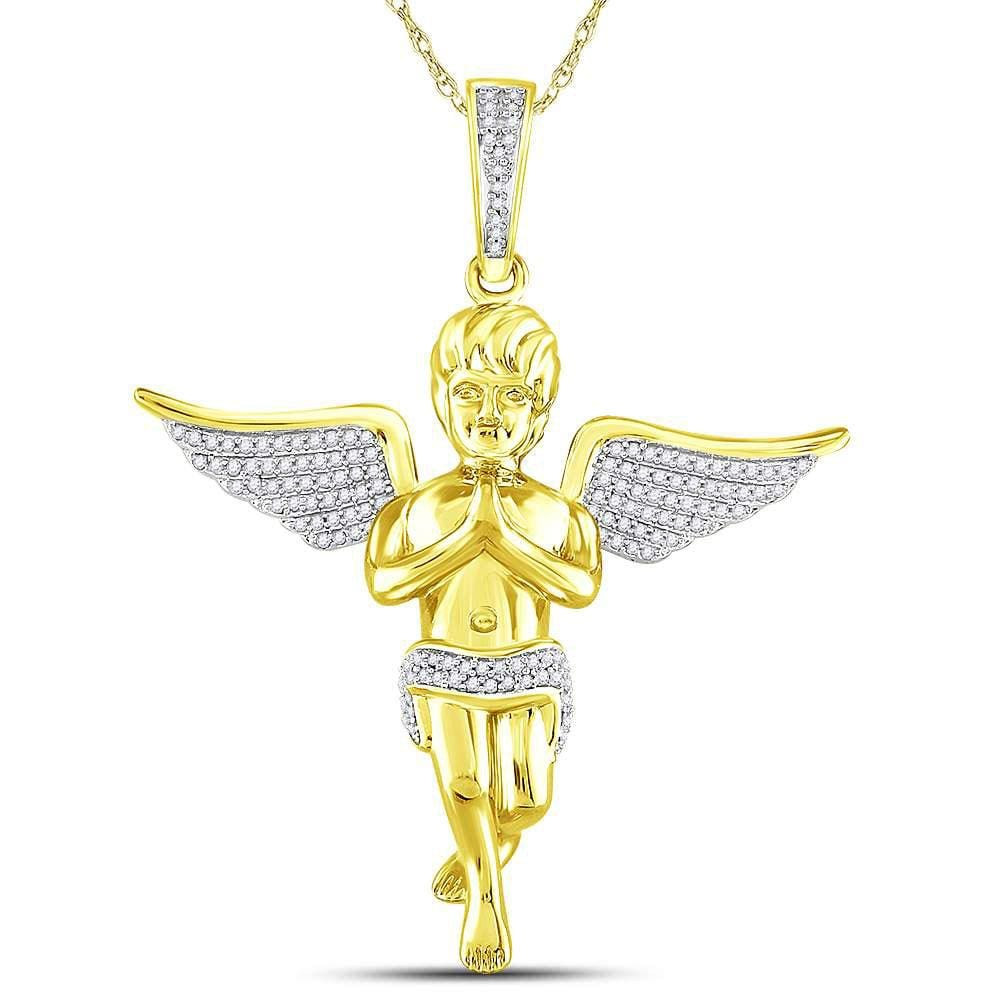 10kt Yellow Gold Mens Round Diamond Angel Charm Pendant 3/8 Cttw
