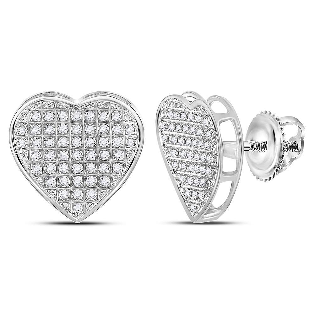 Sterling Silver Womens Round Diamond Heart Stud Earrings 1/3 Cttw
