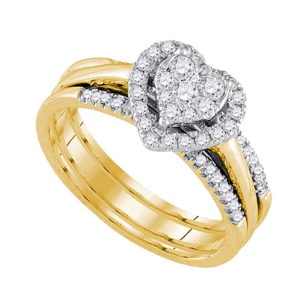 10kt Yellow Gold Womens Diamond Heart Bridal Wedding Engagement Ring Band Set 1/2 Cttw