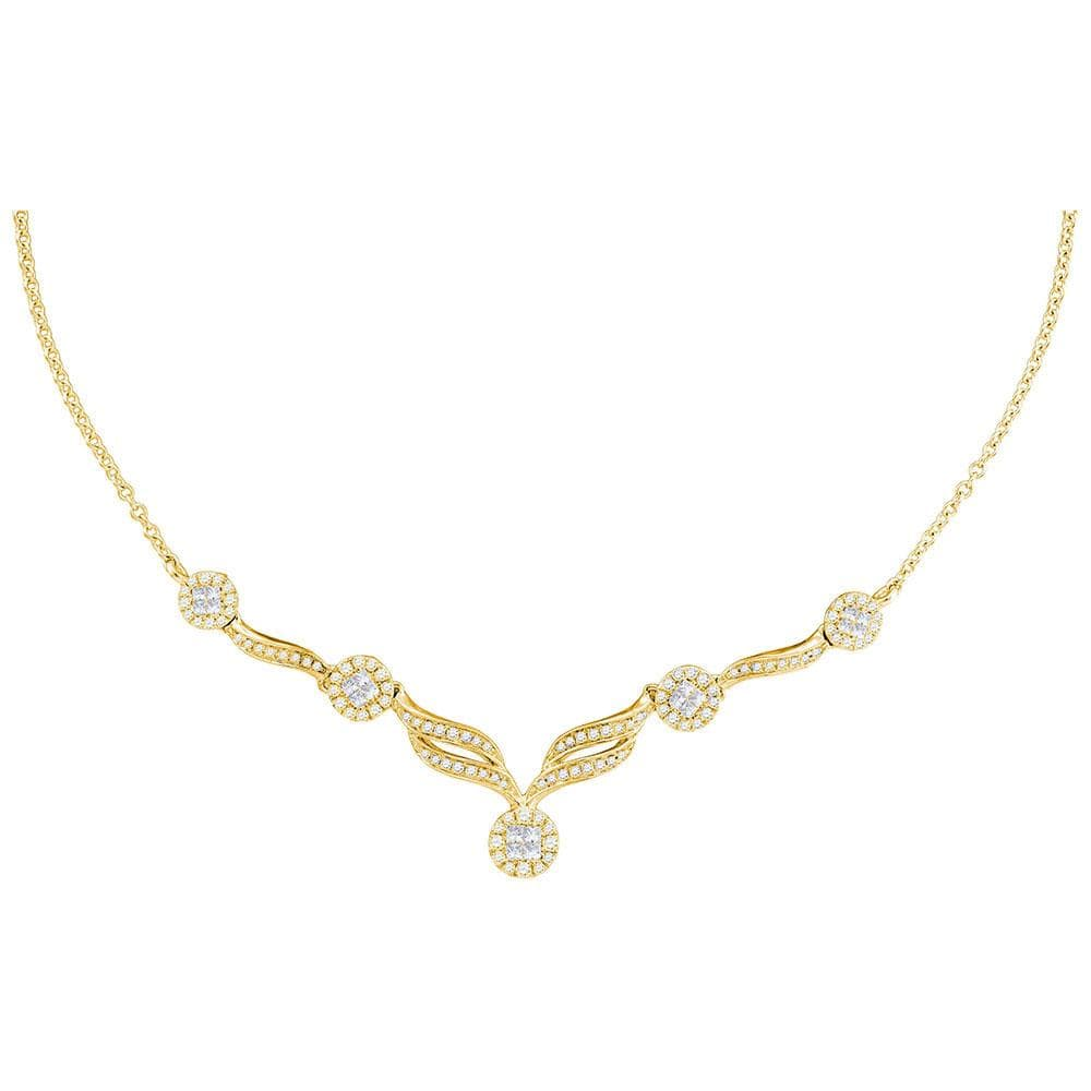 "14kt Yellow Gold Womens Princess Diamond Cluster Luxury 18"" Necklace 1 Cttw"