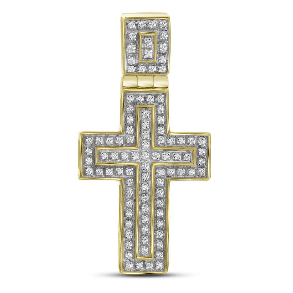10kt Yellow Gold Mens Round Diamond Layered Christian Cross Charm Pendant 1/4 Cttw