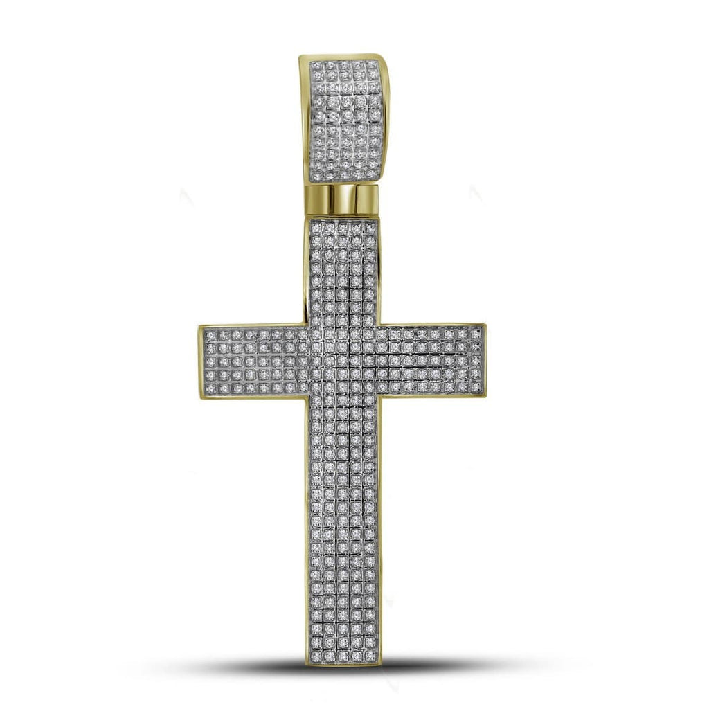 10kt Yellow Gold Mens Round Pave-set Diamond Crhstian Cross Charm Pendant 7/8 Cttw