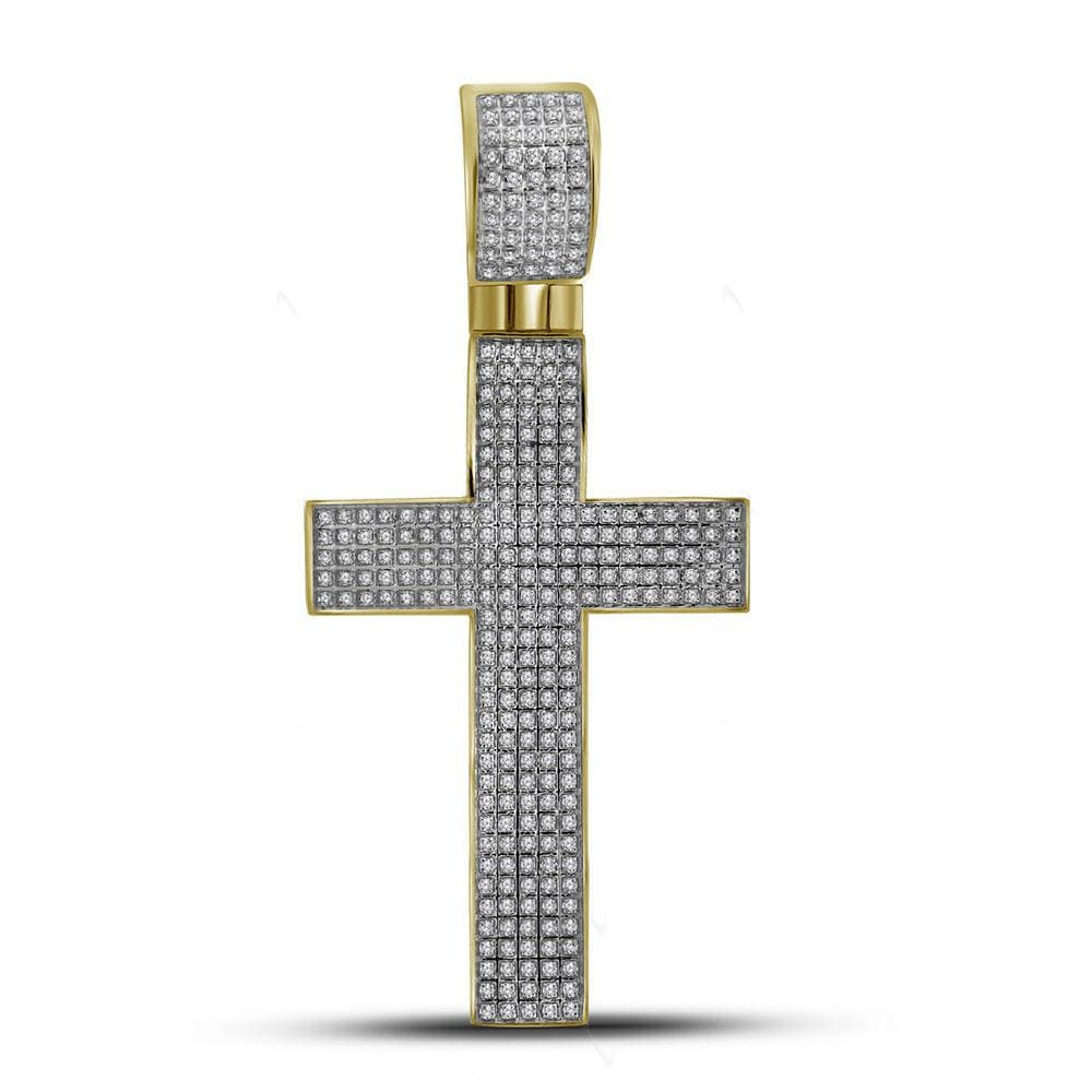 10kt Yellow Gold Mens Round Diamond Roman Cross Charm Pendant 7/8 Cttw