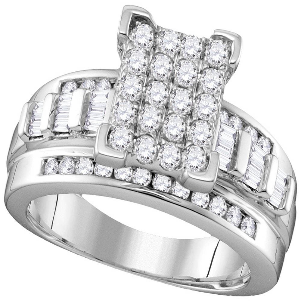 10kt White Gold Womens Round Diamond Elevated Rectangle Cluster Bridal Wedding Engagement Ring 1.00 Cttw - Size 10